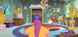 Size: 2230x1080 | Tagged: safe, screencap, scootaloo, pony, parental glideance, dashmentos, female, floppy ears, solo, trophy