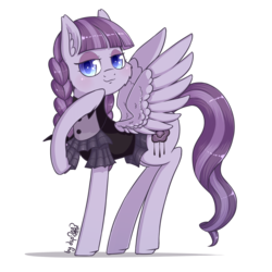 Size: 1536x1536 | Tagged: safe, artist:dsp2003, inky rose, pegasus, pony, honest apple, :3, :3c, cheek fluff, clothes, dress, ear fluff, female, goth, inkybetes, mare, simple background, smug, solo, spread wings, transparent background, wings