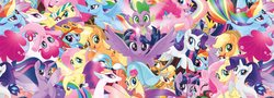 Size: 4096x1474   Tagged: safe, angel bunny, applejack, boyle, captain celaeno, fluttershy, pinkie pie, princess skystar, queen novo, rainbow dash, rarity, spike, twilight sparkle, alicorn, earth pony, pegasus, pony, rabbit, seapony (g4), unicorn, anthro, my little pony: the movie, absurd resolution, anthro with ponies, cowboy hat, female, hat, looking at you, male, mane seven, mane six, mare, multeity, pirate, seaponified, so much pony, species swap, sword, that pony sure does love being a seapony, twilight sparkle (alicorn), wallpaper, weapon