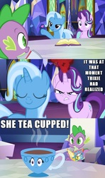Size: 1500x2539   Tagged: safe, edit, edited screencap, hundreds of users filter this tag, screencap, spike, starlight glimmer, trixie, dragon, all bottled up, angry, bedroom eyes, blowing a kiss, book, comic, cup, cutie map, female, heart, i have no mouth and i must scream, inanimate tf, irony, jealous, love triangle, male, pun, screencap comic, shipping, sparlight, spixie, straight, table, teacup, teacupified, that pony sure does love teacups, the amazing trio of friendship, transformation, trixie teacup