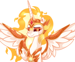 Size: 1800x1500 | Tagged: alicorn, a royal problem, artist:tina-de-love, daybreaker, lidded eyes, looking at you, mane of fire, pony, safe, simple background, smiling, solo, spread wings, transparent background, wings
