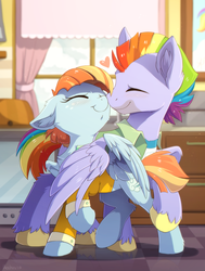 Size: 967x1280 | Tagged: safe, artist:hioshiru, bow hothoof, windy whistles, pegasus, pony, boop, bowabetes, canon couple, chin up, chromatic aberration, cute, daaaaaaaaaaaw, ear fluff, eyes closed, female, floppy ears, heart, hnnng, husband and wife, kitchen, love, male, mare, married couple, noseboop, outfit, precious, rainbow dash's parents, shipping, stallion, straight, sweet dreams fuel, windybetes, windyhoof