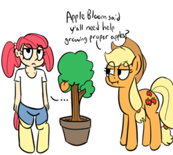 Size: 588x526 | Tagged: safe, artist:heretichesh, color edit, edit, editor:color anon, applejack, oc, oc:peach, satyr, colored, food, offspring, parent:apple bloom, peach, simple background, transparent background