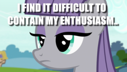 Size: 1080x613 | Tagged: edit, edited screencap, emotionless, frown, image macro, maud pie, meme, pony, rock solid friendship, safe, screencap, solo