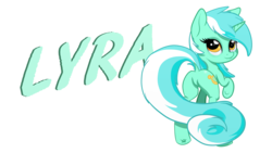 Size: 1920x1080 | Tagged: artist:arcuswind, long tail, looking at you, looking back, looking back at you, lyra heartstrings, plot, raised hoof, safe, simple background, smiling, solo, text