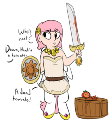 Size: 638x710 | Tagged: safe, artist:heretichesh, color edit, edit, editor:color anon, oc, oc only, oc:dawn, satyr, buckler, colored, food, misleading thumbnail, offscreen character, offspring, parent:anon, parent:princess celestia, shield, simple background, solo, sword, tomato, transparent background, weapon