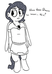 Size: 589x841 | Tagged: safe, artist:heretichesh, oc, oc only, oc:selene, satyr, clothes swap, monochrome, offspring, parent:anon, parent:oc:anon, parent:princess luna, simple background, solo, white background