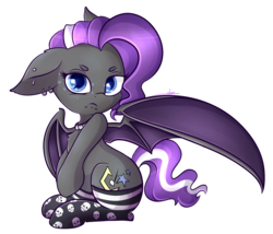 Size: 3416x2927 | Tagged: safe, artist:ashee, oc, oc only, oc:splash, bat pony, pony, bat wings, choker, clothes, cute, ear piercing, floppy ears, grumpy, lip piercing, looking at you, piercing, simple background, sitting, skull socks, snake bites, socks, solo, spread wings, tiny tail, transparent background, wings
