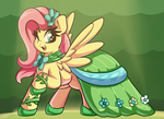 Size: 3000x2185 | Tagged: artist:graphene, clothes, cute, dress, female, fluttershy, gala dress, looking at you, looking sideways, mare, one eye closed, open mouth, pegasus, pony, raised hoof, safe, shyabetes, smiling, solo, spread wings, wings, wink