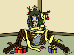 Size: 1999x1500 | Tagged: safe, artist:oneovertwo, oc, oc only, oc:firginia, oc:groot, satyr, christmas, christmas tree, holiday, implied bestiality, objectification, offspring, parent:oc:anon, parent:oc:generic messy hair anime anon, parent:timber wolf, solo, tree