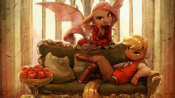 Size: 1920x1080 | Tagged: anthro, apple, applejack, artist:audrarius, bat pony, chair, clothes, detailed, dress, epic, flutterbat, fluttershy, food, race swap, reclining, safe, spread wings, table, unguligrade anthro, vest, wallpaper, window, wings