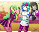 Size: 1796x1504 | Tagged: artist:the-butch-x, canterlot high, clothes, colored pupils, crossover, dj pon-3, equestria girls, fingerless gloves, friendship games, gloves, headphones, jet, laserbeak, leggings, lemon zest, looking at you, octavia melody, safe, skywarp, smiling, soundwave, starscream, thundercracker, transformers, trio, vinyl scratch