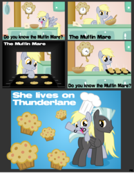 Size: 4744x6105 | Tagged: artist:mythogamer, comic, derpy hooves, female, food, mare, muffin, muffin man, pegasus, pony, pun, safe, scrunchy face, the muffin man, thunderlane