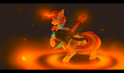 Size: 3400x2000 | Tagged: artist:nightskrill, clothes, commission, female, from behind, glowing horn, looking back, magic, mare, oc, oc only, pony, safe, solo, sword, unicorn, weapon