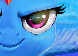Size: 1798x1300 | Tagged: safe, artist:xbi, rainbow dash, pony, close-up, eye, eyes, face, female, smiling, smirk, solo