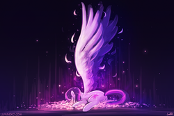 Size: 1125x750 | Tagged: safe, artist:lumineko, twilight sparkle, alicorn, pony, beautiful, eyes closed, feather, female, large wings, mare, prone, sleeping, solo, spread wings, twilight sparkle (alicorn)