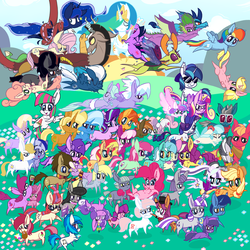 Size: 5000x5000 | Tagged: safe, artist:dragonpone, derpibooru exclusive, amethyst star, applejack, berry punch, berryshine, big macintosh, blossom delight, blossomforth, bon bon, bon bon (g1), button mash, carrot top, cheerilee, cloudchaser, coco pommel, coloratura, derpy hooves, dinky hooves, discord, dj pon-3, doctor whooves, fashion plate, flitter, fluttershy, golden harvest, jasmine tea, king sombra, lily longsocks, limestone pie, lyra heartstrings, maud pie, minty bubblegum, minuette, moondancer, night glider, night light, nurse redheart, octavia melody, pinkie pie, prince blueblood, princess cadance, princess celestia, princess ember, princess flurry heart, princess luna, quiet gestures, rainbow dash, rarity, roseluck, ruby pinch, screwball, shining armor, sparkler, spike, starlight glimmer, sunburst, sunflower spectacle, sunset shimmer, sunshine smiles, sweetie belle, sweetie drops, thorax, time turner, trixie, twilight sparkle, twilight velvet, vinyl scratch, violet spark, zecora, alicorn, changedling, changeling, dragon, earth pony, pegasus, pony, unicorn, zebra, g1, idw, spoiler:comic, spoiler:comic40, ..., :3, :<, absurd resolution, alcohol, alicorn pentarchy, angry, backwards ballcap, baseball cap, basket, belly button, blush sticker, blushing, book, boop, butt freckles, butthug, cap, cheek pinch, cheek squish, chest fluff, clothes, countess coloratura, cross-popping veins, cup, discoshy, doctorderpy, drinking, ear fluff, exclamation point, eyes closed, face down ass up, feather, female, floppy ears, flower, fluttershy riding discord, flying, food, freckles, g1 to g4, generation leap, glasses, hair over one eye, happy, hat, holding a pony, hug, impossibly large chest fluff, intertwined tails, jumping, king thorax, kissy face, lesbian, levitation, lidded eyes, looking at each other, looking at something, looking at you, looking back, looking up, lyrabon, magic, male, mane seven, mane six, messy mane, mime, mouth hold, music notes, older, older spike, one eye closed, open mouth, ponies riding ponies, prone, pronking, raised hoof, reading, reformed four, riding, rock, scared, scarf, shipping, shrunken pupils, singing, smiling, spread wings, squishy cheeks, starry eyes, straight, sun, sunglasses, surprised, sweat, tail hug, talking, teacup, teenage spike, teenager, telekinesis, tongue out, tripping, twilight sparkle (alicorn), unamused, upside down, walking, wall of tags, watermelon, wine, wine bottle, wingding eyes, winged spike, wings, worried