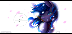 Size: 1487x720 | Tagged: artist:midnightsix3, artist:rakikubit, bow (instrument), collaboration, oc, oc:nyreen eventide, oc only, petals, pony, safe, simple background, solo, violin bow, white background