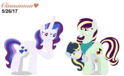 Size: 4096x2514 | Tagged: artist:cinnamonheartxoxo, bandana, earth pony, hiding, magical lesbian spawn, next generation, oc, oc:acapella apple, oc:pristine melody, oc:radiant jewel, offspring, parent:applejack, parent:coloratura, parent:fancypants, parent:rarity, parents:rarajack, parents:raripants, safe, simple background, transparent background, unicorn