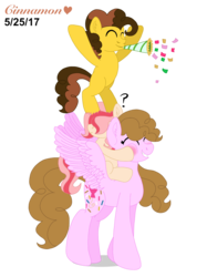 Size: 2048x2732 | Tagged: artist:cinnamonheartxoxo, bipedal, confetti, earth pony, eyes closed, next generation, noisemaker, oc, oc:chocolate cheesecake, oc:confetti surprise, oc:cream jade, oc only, offspring, parent:cheese sandwich, parent:pinkie pie, parents:cheesepie, pegasus, safe, simple background, transparent background