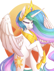 Size: 1024x1365 | Tagged: alicorn, artist:theanthropony, collaboration, colored pupils, crown, female, jewelry, lidded eyes, mare, pony, princess celestia, regalia, safe, simple background, smiling, solo, transparent background