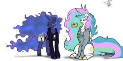 Size: 1280x640 | Tagged: alicorn, artist:greyscaleart, bed mane, clothes, coffee, coffee mug, hoodie, lidded eyes, magic, messy mane, missing accessory, morning ponies, mug, pony, princess celestia, princess luna, royal sisters, safe, simple background, sitting, telekinesis, tired, white background