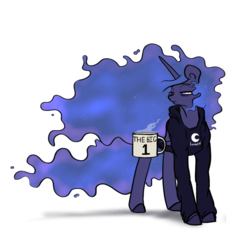 Size: 1079x1000 | Tagged: artist:greyscaleart, clothes, coffee, coffee mug, hoodie, lidded eyes, magic, messy mane, missing accessory, morning ponies, mug, one, pony, princess luna, safe, simple background, solo, telekinesis, tired, white background