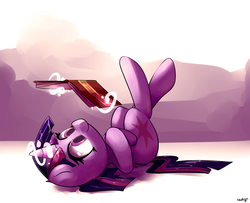 Size: 5000x4050 | Tagged: safe, artist:luxaestas, twilight sparkle, alicorn, pony, absurd resolution, adorkable, book, bookhorse, crossed legs, cute, dork, female, legs in air, levitation, lying down, magic, mare, on back, reading, smiling, solo, telekinesis, twiabetes, twilight sparkle (alicorn)