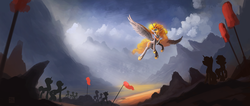 Size: 2350x1000 | Tagged: dead source, safe, artist:shamanguli, daybreaker, alicorn, pony, a royal problem, army, cloud, female, helmet, looking up, mare, mountain, scenery, silhouette, sky, spread wings, wings