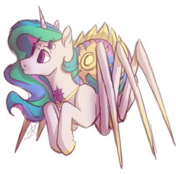 Size: 1358x1347 | Tagged: safe, artist:ebonytails, princess celestia, monster pony, original species, spiderpony, female, looking at something, looking away, multiple eyes, simple background, solo, species swap, spiderlestia, transparent background