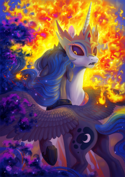Size: 1000x1414 | Tagged: alicorn, alternate timeline, armor, a royal problem, artist:stasysolitude, crown, daybreaker, duo, ethereal mane, featured image, female, fire, floppy ears, hug, jewelry, mane of fire, mare, moonbutt, neck hug, open mouth, plot, pony, princess celestia, princess luna, raised hoof, regalia, royal sisters, sad, safe, siblings, sisters, spread wings, starry mane, tiara, wings