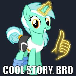 Size: 1000x1000   Tagged: safe, artist:cheezedoodle96, derpibooru exclusive, lyra heartstrings, pony, unicorn, alternate hairstyle, caption, clothes, cool story bro, female, glowing horn, hand, leg warmers, looking at you, magic, magic hands, mare, meme, reaction image, shirt, simple background, smiling, solo, spandex, thumbs up, workout outfit