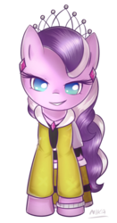 Size: 423x809 | Tagged: artist:nika191319, clothes, colored pupils, diamond tiara, ear piercing, earring, earth pony, equestria girls outfit, female, filly, jewelry, piercing, pony, safe, smiling, solo, tiara