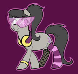 Size: 1780x1684 | Tagged: 30 minute art challenge, accessories, alternate hairstyle, artist:/d/non, clothes, earth pony, female, fishnets, glasses, headphones, mare, octavia melody, pony, ponytail, purple background, safe, simple background, socks, solo, striped socks, visor