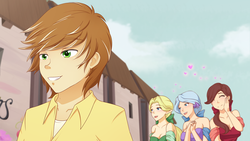Size: 1280x720 | Tagged: safe, alternate version, artist:jonfawkes, dear darling, feather bangs, fond feather, swoon song, human, hard to say anything, bimbettes, clothes, cute, dress, elf ears, eyes closed, hands together, handsome, heart, humanized, open mouth, scene interpretation, unicorns as elves, wing ears