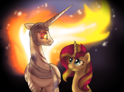 Size: 1224x915   Tagged: safe, artist:not-ordinary-pony, daybreaker, sunset shimmer, oc, oc:helia, alicorn, pony, unicorn, fanfic:past sins, fanfic:primordial crimes (project helia), a royal problem, alicorn oc, alternate universe, bandage, duo, fanfic, fanfic art, female, looking at each other, mane of fire, mare, primordial crimes (project helia), smiling