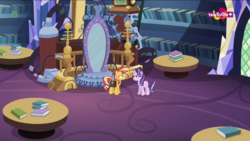 Size: 1600x900 | Tagged: book, duo, equestria girls, female, it happened, library, machinery, mare, mirror, mirror magic, pony, saddle bag, safe, screencap, spoiler:eqg specials, starlight glimmer, sunset shimmer, table, twilight's castle, twilight's castle library, unicorn