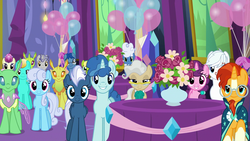 Size: 1920x1080 | Tagged: safe, screencap, bittersweet (character), bright smile, castle (crystal pony), double diamond, fleur de verre, fluffy clouds, leadwing, linky, mayor mare, night glider, party favor, shoeshine, star bright, sugar belle, sunburst, changedling, changeling, crystal pony, pony, celestial advice, equal four