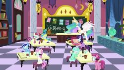 Size: 1920x1080 | Tagged: safe, screencap, lemon hearts, lyra heartstrings, minuette, moondancer, princess celestia, ruby pinch, twilight sparkle, twinkleshine, alicorn, pony, celestial advice, animation error, book, canterlot five, canterlot six, female, filly, filly lyra, filly moondancer, filly twilight sparkle, globe, magic, mare, missing cutie mark, princess celestia's school for gifted unicorns, school, younger, 🌞 + 🍭 + 🌈 = 2