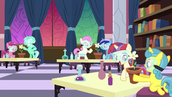Size: 1920x1080 | Tagged: safe, screencap, lemon hearts, lyra heartstrings, minuette, moondancer, ruby pinch, twinkleshine, pony, celestial advice, adorableshine, canterlot five, cute, dancerbetes, filly lyra, filly moondancer, lemonbetes, lyrabetes, minubetes