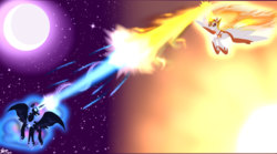 Size: 1800x1000 | Tagged: safe, artist:princesketchy, daybreaker, nightmare moon, alicorn, pony, a royal problem, magic duel, blast, crescent moon, duo, female, fight, magic, magic blast, mare, moon, sisters, stars, sun, wallpaper