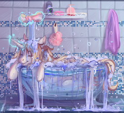 Size: 1433x1313 | Tagged: artist:1an1, bath, bathroom, bathtub, claw foot bathtub, eyes closed, female, magic, mare, oc, oc:caroline sunshine, oc only, overflowing, pony, relaxing, safe, shampoo, soap, soap bubble, solo, sponge, telekinesis, towel, unicorn