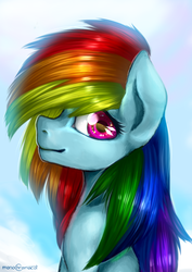 Size: 2480x3507 | Tagged: safe, artist:monochromacat, rainbow dash, pegasus, pony, bust, colored pupils, cute, dashabetes, female, high res, looking at you, mare, multicolored hair, portrait, profile, smiling, solo