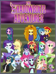 Size: 3100x4100 | Tagged: safe, artist:bootsyslickmane, adagio dazzle, applejack, aria blaze, fluttershy, indigo zap, lemon zest, mina, pinkie pie, rainbow dash, rarity, sci-twi, sonata dusk, sour sweet, spike, spike the regular dog, sugarcoat, sunny flare, sunset shimmer, twilight sparkle, dog, fanfic:the shadowbolts adventures, equestria girls, friendship games, :3, absurd resolution, alternate costumes, alternate hairstyle, bleachers, book, boots, cardigan, cargo pants, clothes, collar, crossed arms, crossed legs, crystal prep shadowbolts, cute, dress, equestria girls-ified, fanfic, fanfic art, fanfic cover, freckles, frown, glasses, goggles, hat, hoodie, hug, human sunset, jacket, jeans, leather jacket, looking at each other, looking at something, looking at you, messy hair, missing accessory, necktie, one eye closed, pants, phone, pigtails, ponytail, raised eyebrow, scrunchy face, self paradox, shadow five, skirt, skirt lift, skull, smiling, socks, tongue out, twintails, unamused, wall of tags, wink