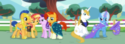 Size: 1600x568   Tagged: safe, artist:3d4d, artist:bluetech, artist:limedazzle, artist:masem, artist:punzil504, artist:reginault, artist:the smiling pony, flash sentry, prince blueblood, starlight glimmer, sunburst, sunset shimmer, trixie, pegasus, pony, unicorn, bluetrix, female, flashimmer, magical trio, male, shipping, starburst, straight
