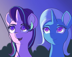 Size: 1280x1024 | Tagged: safe, artist:raikoh, starlight glimmer, trixie, pony, unicorn, rock solid friendship, female, kite, lesbian, looking up, mare, shipping, smiling, startrix, that pony sure does love kites