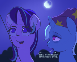 Size: 1229x983 | Tagged: safe, artist:raikoh, starlight glimmer, trixie, pony, unicorn, rock solid friendship, female, kite, lesbian, looking up, mare, moon, night, shipping, sleepy, smiling, startrix, that pony sure does love kites, tired