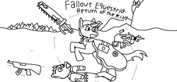 Size: 1109x516 | Tagged: safe, pony, fallout equestria, fallout equestria: return of the king, ak-47, arbiter, assault rifle, bolter, canterlot, chainsword, cloak, clothes, everfree forest, fanfic, fanfic art, gun, ms paint, raider, rifle, robe, shield, sketch, the priesthood of flutterwest, warhammer (game), warhammer 40k, weapon