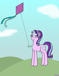 Size: 640x811   Tagged: safe, artist:hayley566, starlight glimmer, pony, unicorn, rock solid friendship, female, kite, mare, solo, that pony sure does love kites