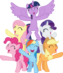 Size: 6400x7422 | Tagged: safe, artist:parclytaxel, applejack, fluttershy, pinkie pie, rainbow dash, rarity, twilight sparkle, alicorn, earth pony, pegasus, pony, unicorn, all bottled up, .svg available, absurd resolution, best friends until the end of time, bipedal, cute, dashabetes, diapinkes, eyes closed, female, jackabetes, mane six, mare, open mouth, pony pyramid, raised hoof, raribetes, shyabetes, simple background, smiling, spread wings, standing up, transparent background, twiabetes, twilight sparkle (alicorn), vector, wings